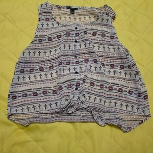 Tie Front Tribal Print Blouse